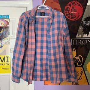 Pastel salmon checkered regular fit button up